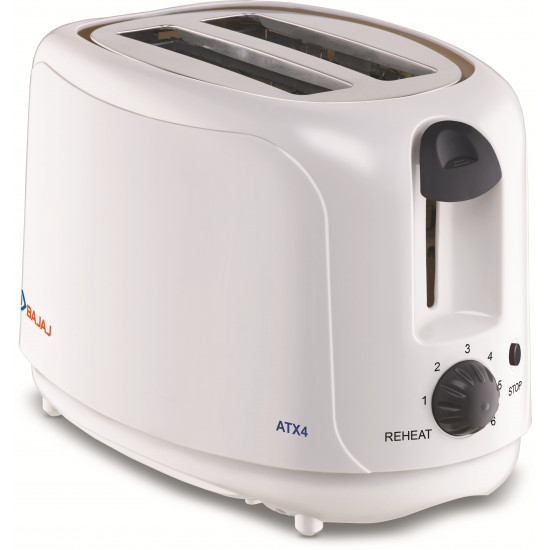 Bajaj ATX 4 750 W Pop Up Toaster 2 Slice (White)