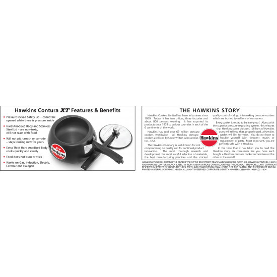 Hawkins Contura Black XT 3 L Induction Bottom Pressure Cooker (Hard Anodized) CXT30