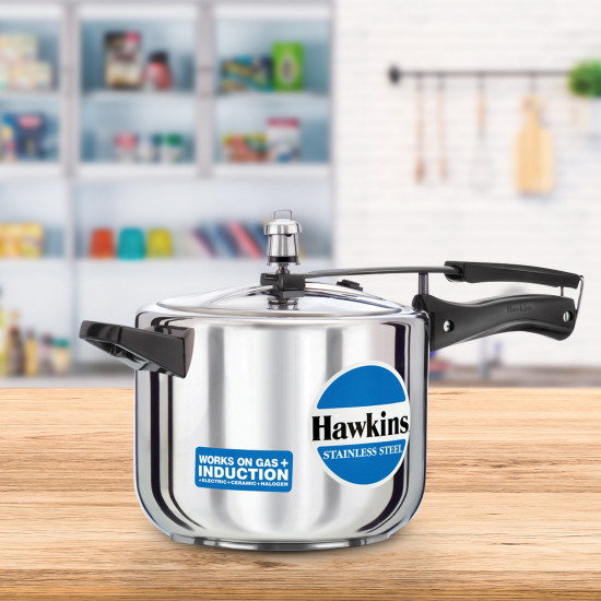 Hawkins Stainless Steel 5 L Induction Bottom Pressure Cooker (Stainless Steel) hss50