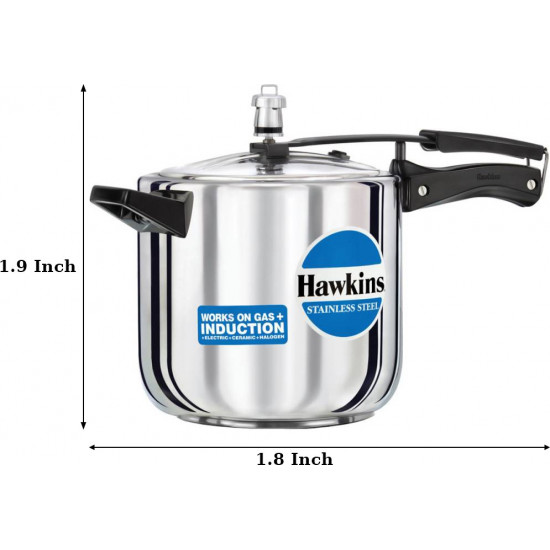 Hawkins Stainless Steel 6 Lits Induction Bottom Pressure Cooker HSS60