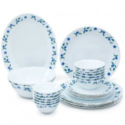 La Opala Diva Juniper Blue Dinner Set of Twenty Seven Pieces